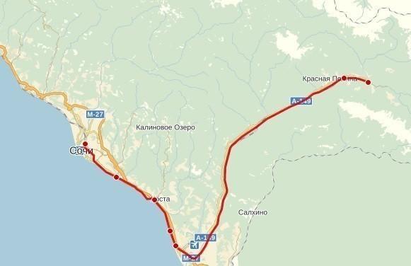 Карта Сочи-Красная поляна маршрут
